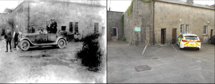 Then & Now comparison of the location where Midleton IRA were photographed at the Constabulary Barracks in 1921/22