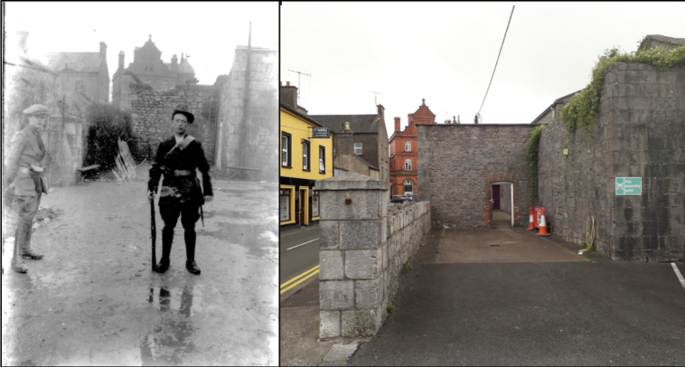 Then & Now comparison of the location where Midleton IRA were photographed at the Constabulary Barracks in 1922